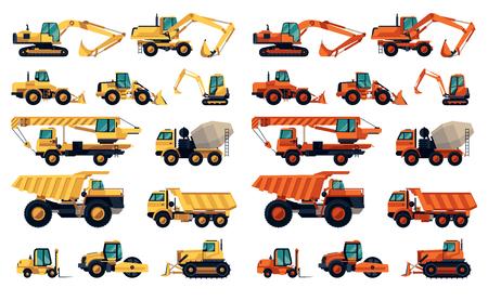 Platte design set van bouwmachines en apparatuur
