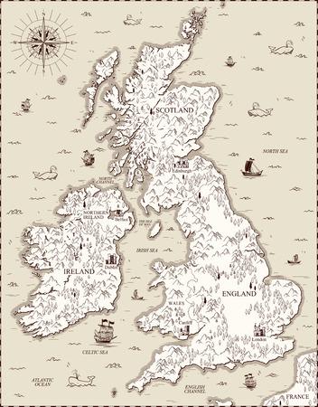 Vector oude kaart, Groot-Brittannië