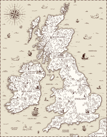 Vector vieille carte, la Grande-Bretagne Banque d'images - 70052669