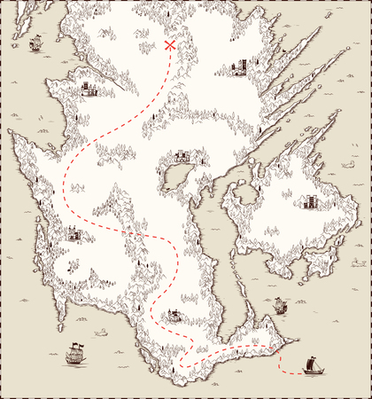 ベクター古い地図、海賊の宝  イラスト・ベクター素材