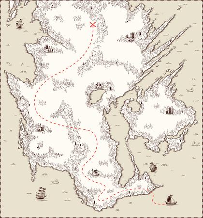 Vektor alte Karte, Piratenschatz Standard-Bild - 70052670