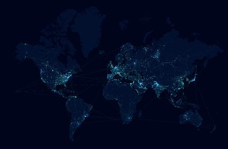 telecommunication: World map with global technology and telecommunication network. Vector illustration