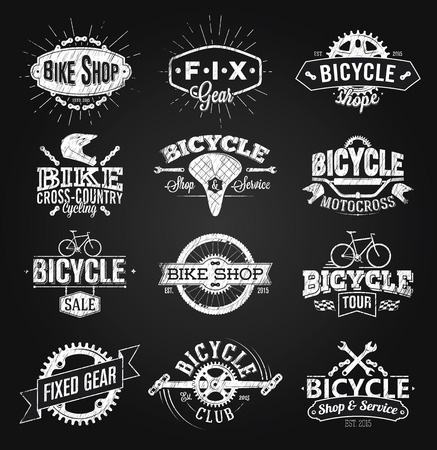 Typographic Bicycle Label and Logo chalk drawing Vectores