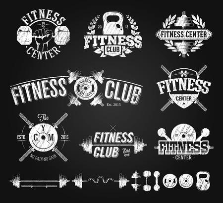 Typografische Fitness Emblemen krijttekening Stock Illustratie