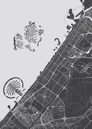 Vector detailed map Dubai Illustration