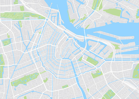 Amsterdam colored vector map 일러스트
