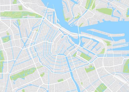 Amsterdam gekleurde vector kaart