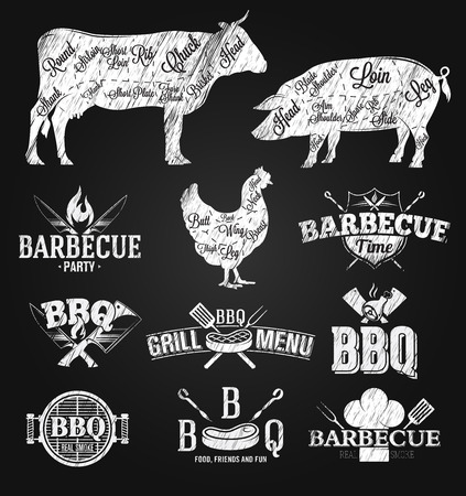 cut: BBQ Emblems and Logos chalk drawing