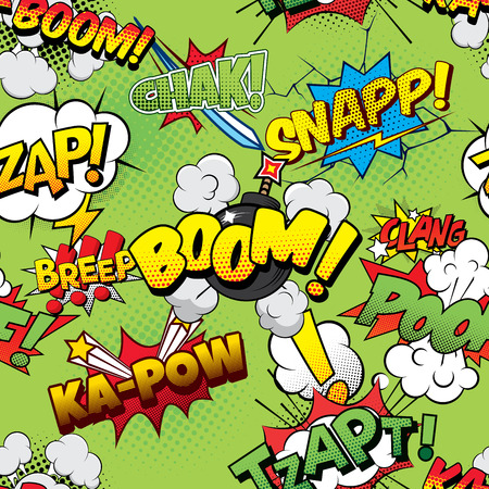 coloured: Boom Seamless comics background Illustration