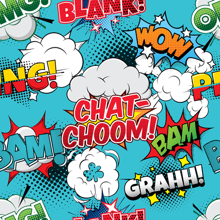 cartoon bubble: Chat-choom Seamless comics background Illustration
