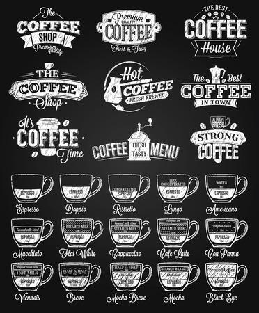 Koffielabel, logo en menu krijt tekening Logo