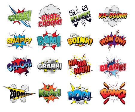 Collectie vector komische geluidseffecten pop-art stijl