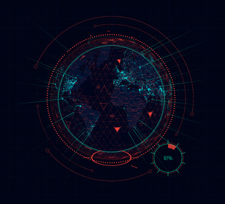 Digital holographic earth globe sci-fi futuristic interface. Vector