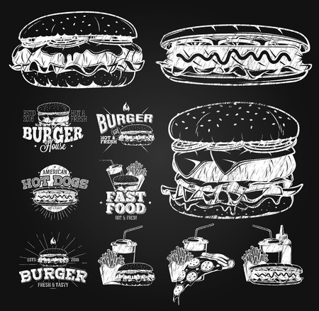 Fast Food Label, Logos and design elements chalk drawing Stock Illustratie