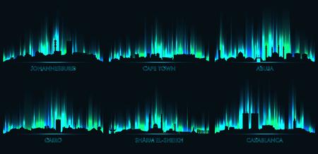Neon city skyline Johannesburg, Cape Town, Abuja, Cairo, Sharm El Sheikh, Casablanca