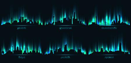 Neon city skyline, Beijing, Shanghai, Guangzhou, Delhi, Jakarta, Amman Vectores