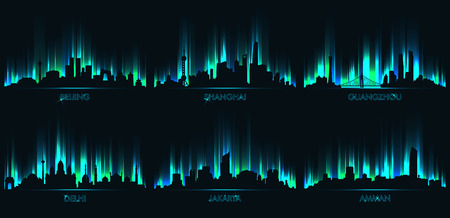 Neon city skyline, Beijing, Shanghai, Guangzhou, Delhi, Jakarta, Amman Illustration