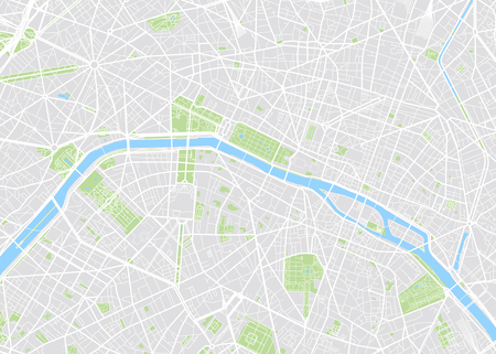 Paris colored vector map Ilustrace