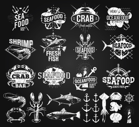chalk drawing: Seafood labels, logo chalk drawing Illustration