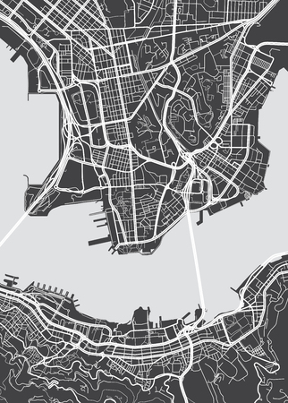 Vector detailed map Hong Kong