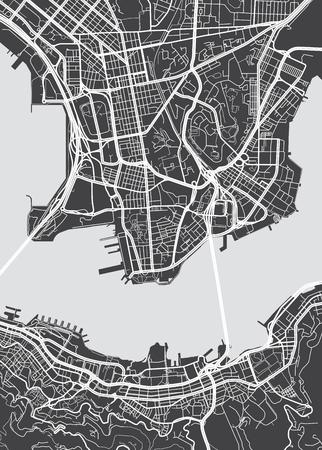 Vector mappa dettagliata Hong Kong Archivio Fotografico - 70130396