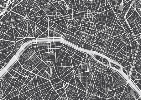 Vector detailed map Paris Ilustracja