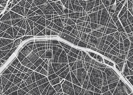 Vector detailed map Paris Vectores