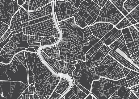 Vector detailed map Rome Çizim