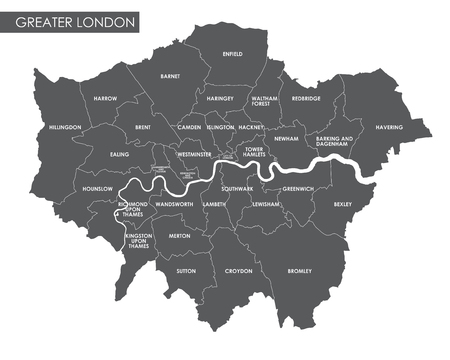 Vector Greater London administrative map Banco de Imagens - 70130411