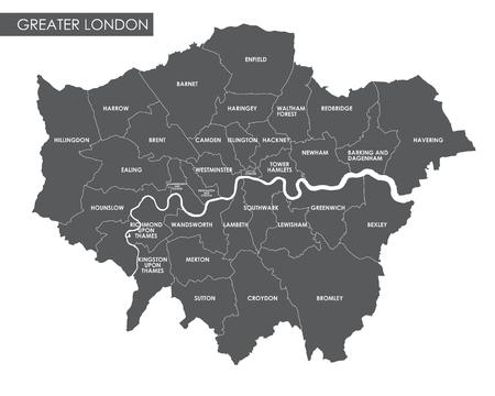Vector Greater London Mappa amministrativo Archivio Fotografico - 70130411