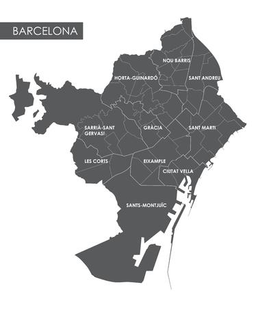 Vector map Barcelona district Illustration