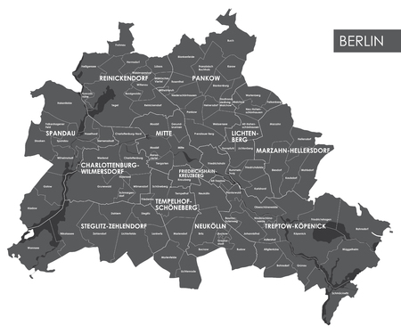 Vector map Berlin district Stock Vector - 70130462