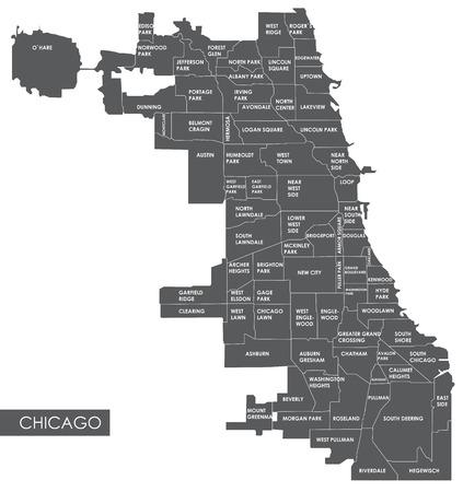 벡터지도 시카고 지구 일러스트