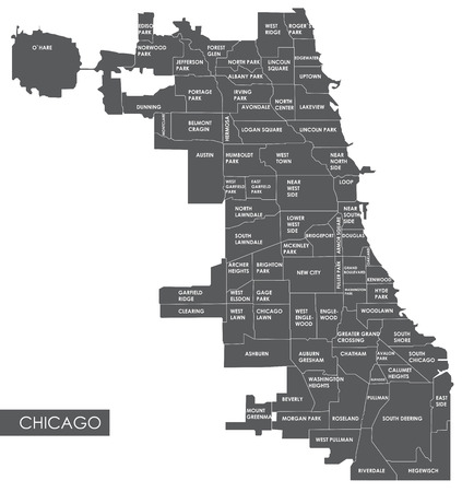 Vector map district de Chicago Banque d'images - 70130455