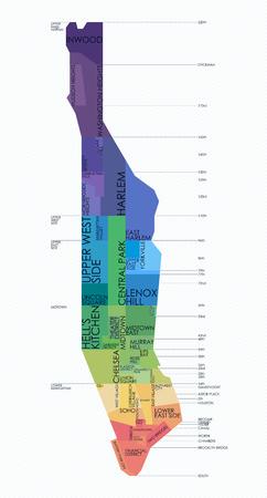 Vektorkarte Nachbarschaften von Manhattan Standard-Bild - 70130456