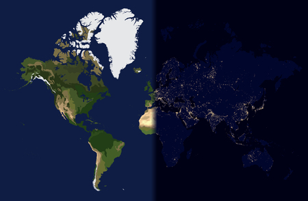 Night in the east, Day in the West, World map vector illustration