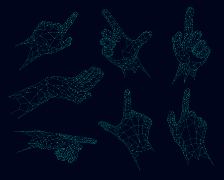 interface: Polygonal gestures, Futuristic low poly hands vector illustration