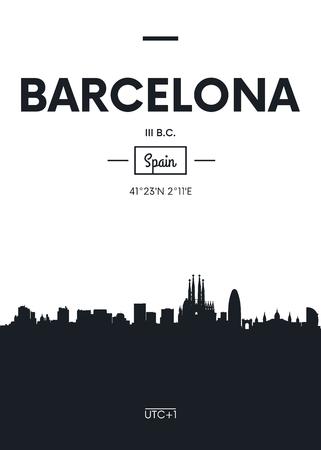 Poster city skyline Barcelona, ??Flat style vector illustration