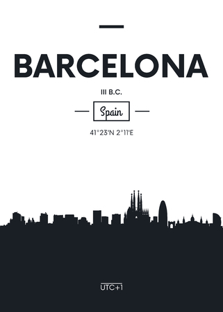 Poster city skyline Barcelona, ??Flat style vector illustration