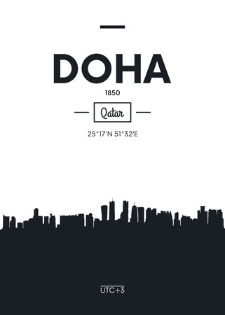 Poster city skyline Doha, Flat style vector illustration Illustration