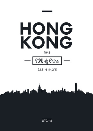 Poster city skyline Hong Kong, Flat style vector illustration Stock Illustratie