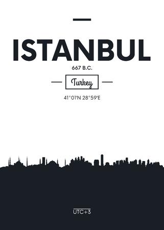 Poster city skyline Istanbul, Flat style vector illustration Illustration