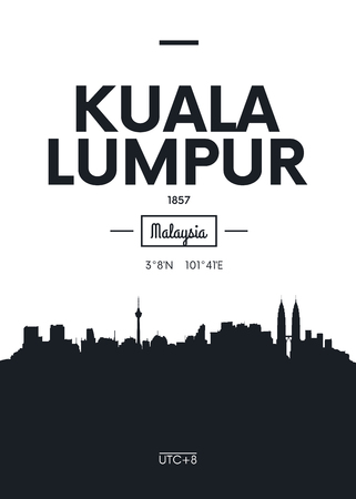 Poster city skyline Kuala Lumpur, Flat style vector illustration