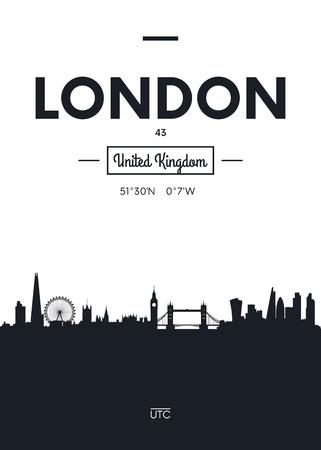 포스터 도시의 스카이 라인 런던, 플랫 스타일 벡터 일러스트 레이 션 스톡 콘텐츠 - 84482819