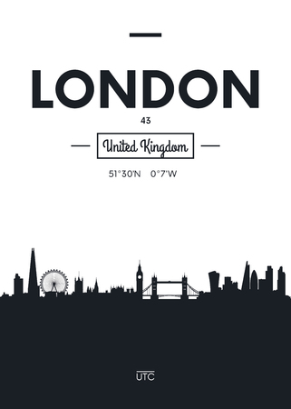 Poster city skyline London, Flat style vector illustration Ilustracja