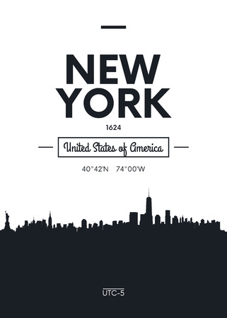 Poster city skyline New York, Flat style vector illustration 版權商用圖片 - 84482821