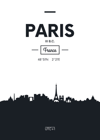 Poster city skyline Paris, Flat style vector illustration Иллюстрация