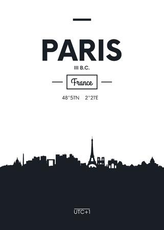 Poster stad skyline van Parijs, vlakke stijl vectorillustratie