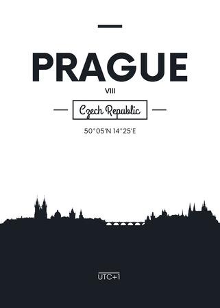 Poster city skyline Prague, Flat style vector illustration Illustration