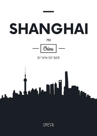Poster city skyline Shanghai, Flat style vector illustration 向量圖像